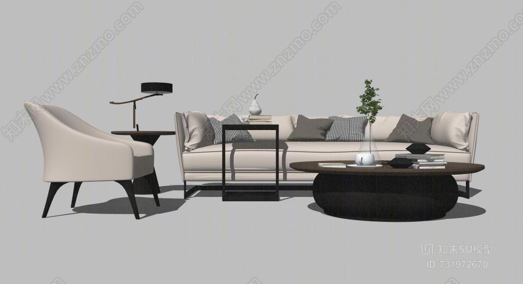 北欧现代风格组合沙发边几软装家具