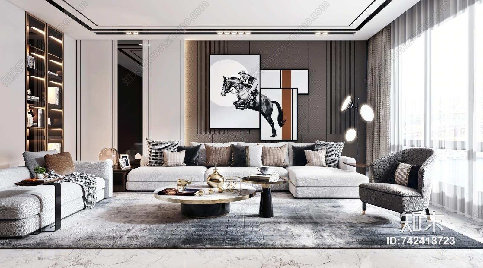 现代客厅 沙发茶几组合 凳子 单椅