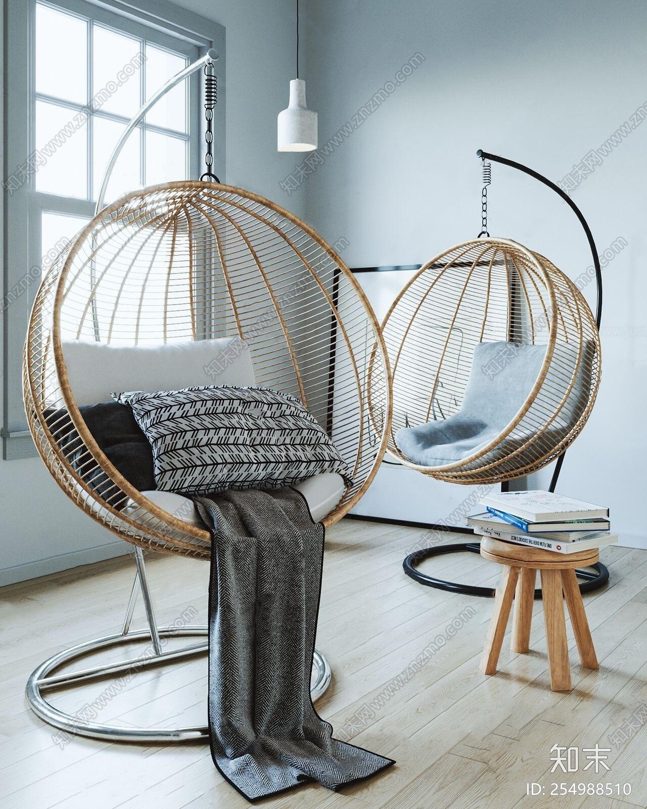 北欧吊椅组合3D模型下载【ID:254988510】