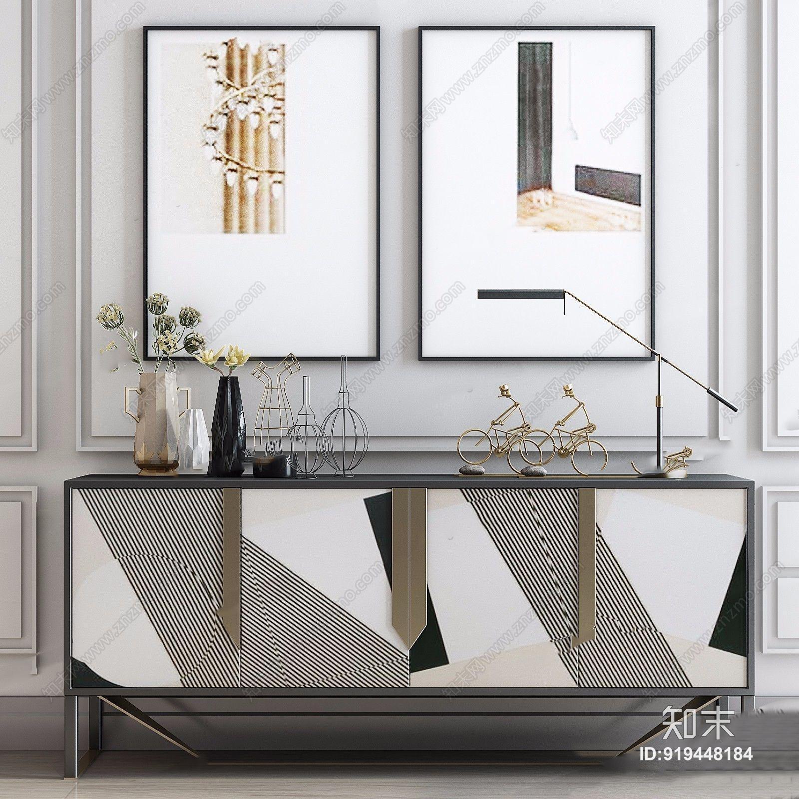 现代边柜台灯挂画 现代边柜/玄关柜 台灯 金属摆件 挂画 餐边柜