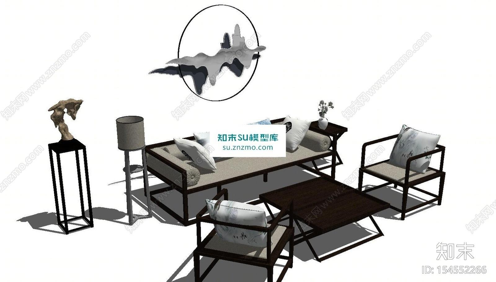 新中式客厅沙发茶几置物架组合SU模型下载【ID:154552266】