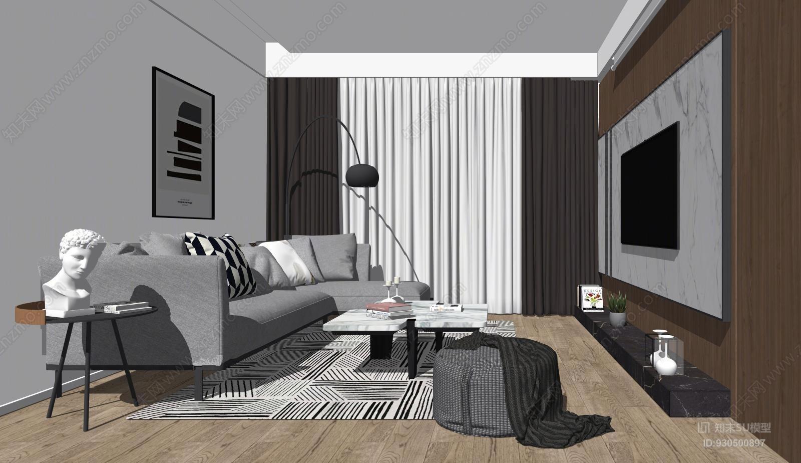 现代北欧极简客厅