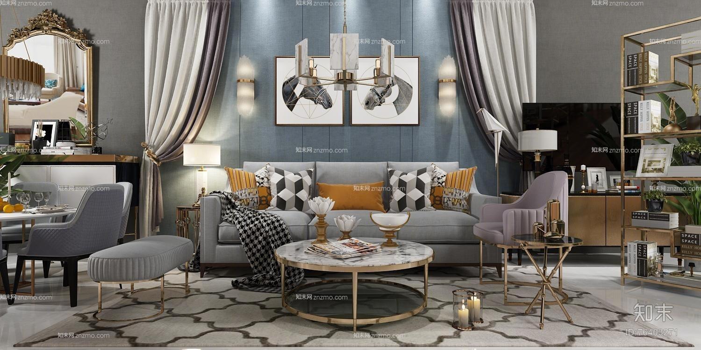 后现代沙发茶几餐桌椅边柜摆件组合3D模型
