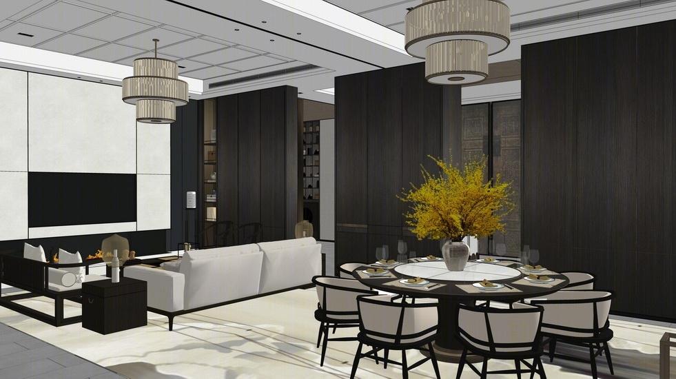 新中式别墅客厅餐厅室内设计SU模型