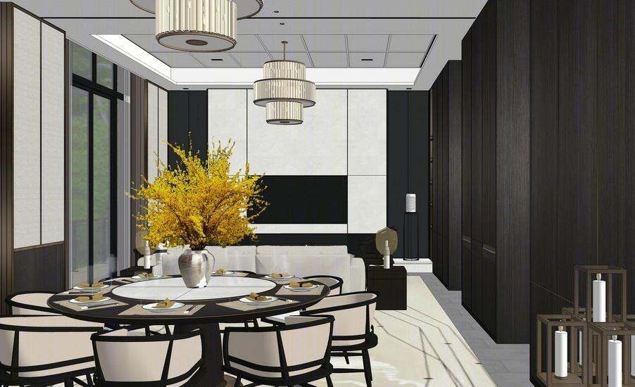 新中式别墅客厅餐厅室内设计SU模型SU模型下载【ID:920572829】