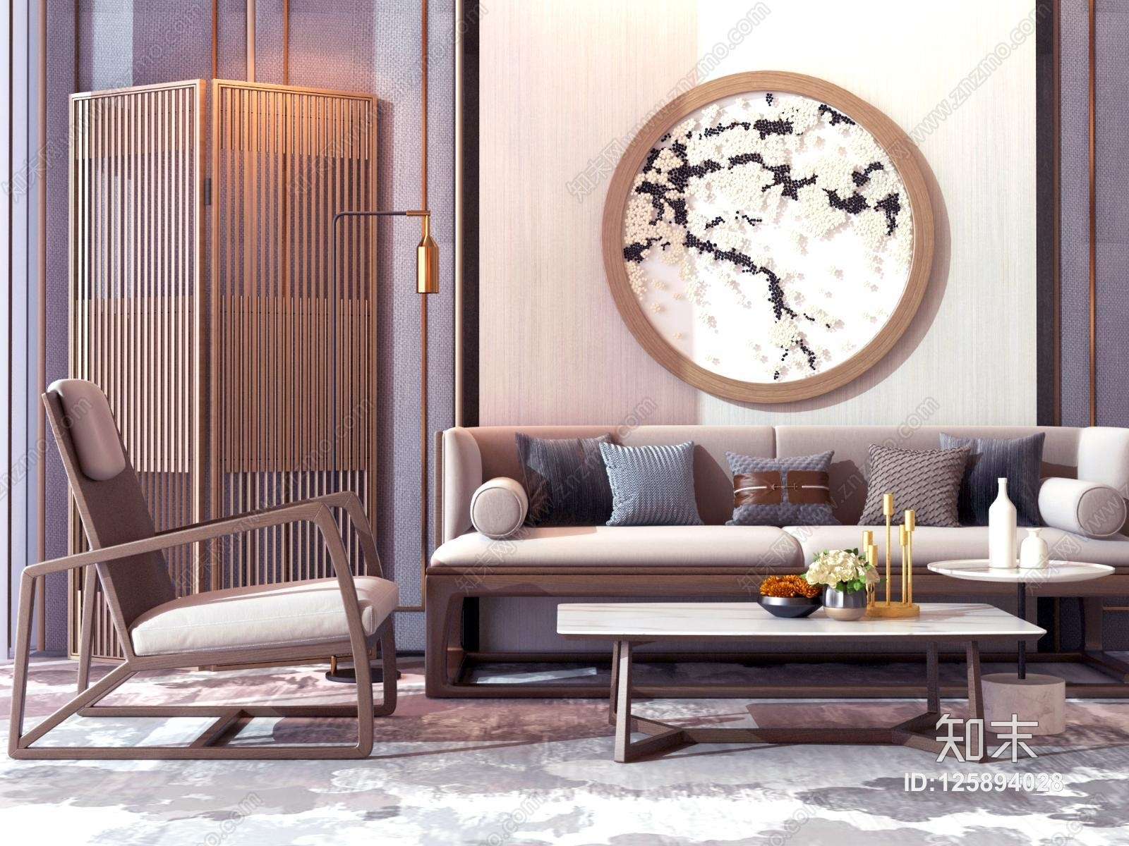 新中式沙发茶几组合 屏风 装饰画 装饰摆件 休闲椅
