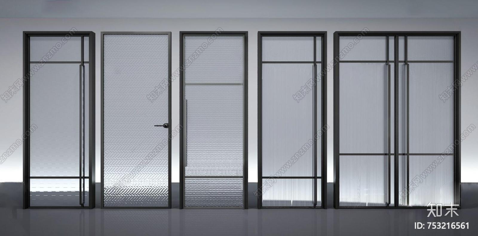 现代玻璃移门组合3d模型