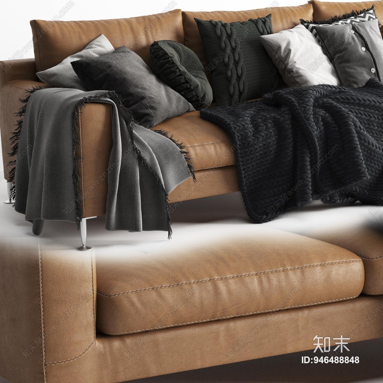 现代皮革沙发3D模型下载【ID:946488848】