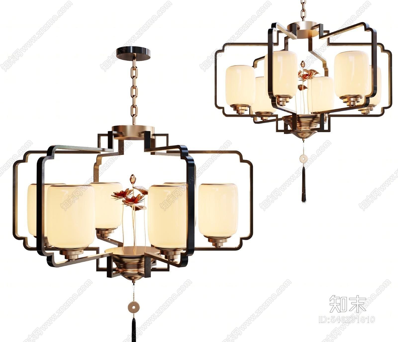新中式吊灯3D模型下载【ID:546231810】