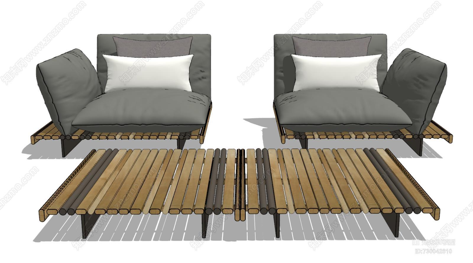 现代单人沙发茶几模型组合