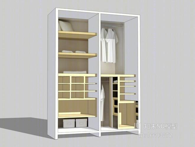 开放式衣柜su模型
