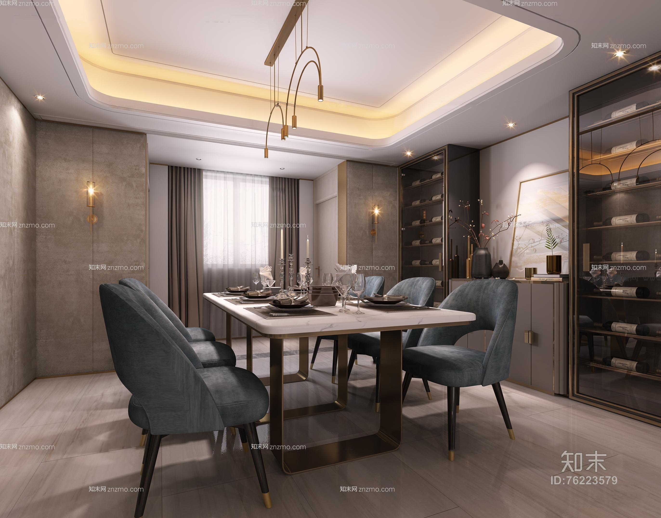 现代客餐厅 沙发茶几 餐桌椅 吊灯 单人沙发 酒柜