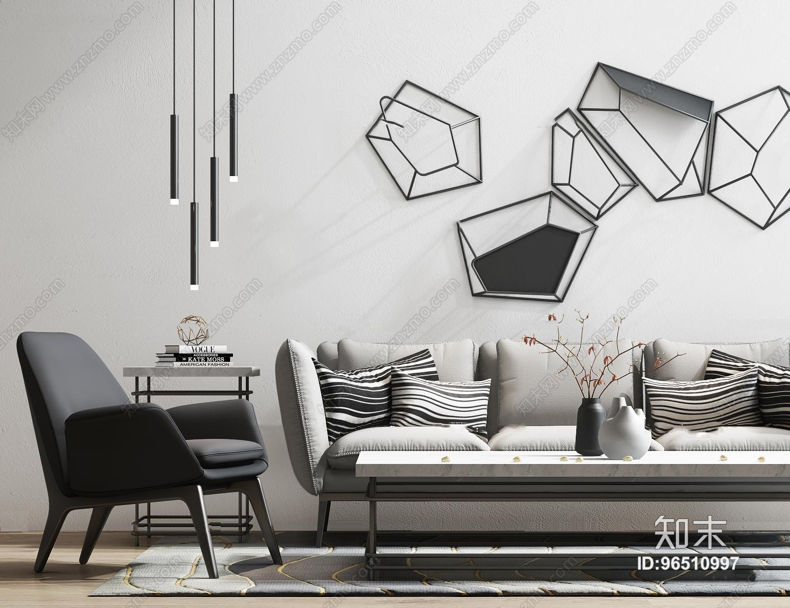 现代多人沙发茶几单椅摆件组合3D模型3D模型下载【ID:96510997】