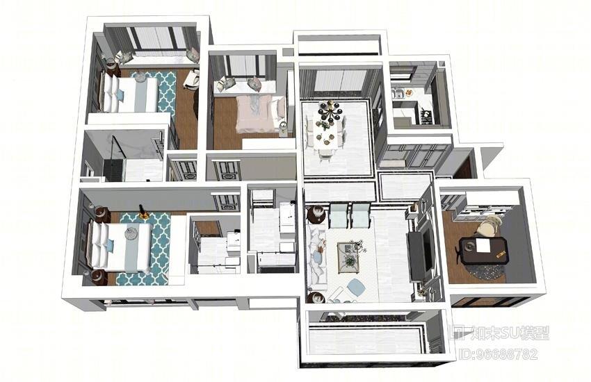 美式风格四房两厅室内设计SU模型