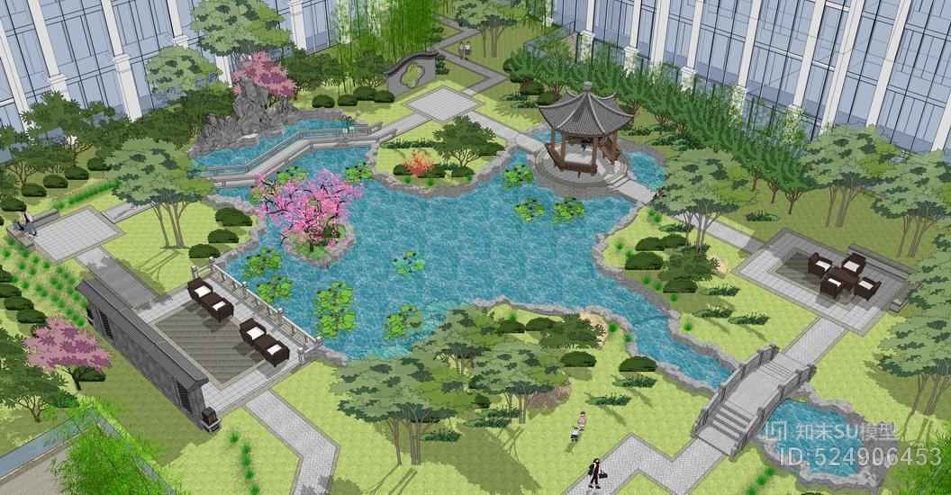 中式小区景观SU模型