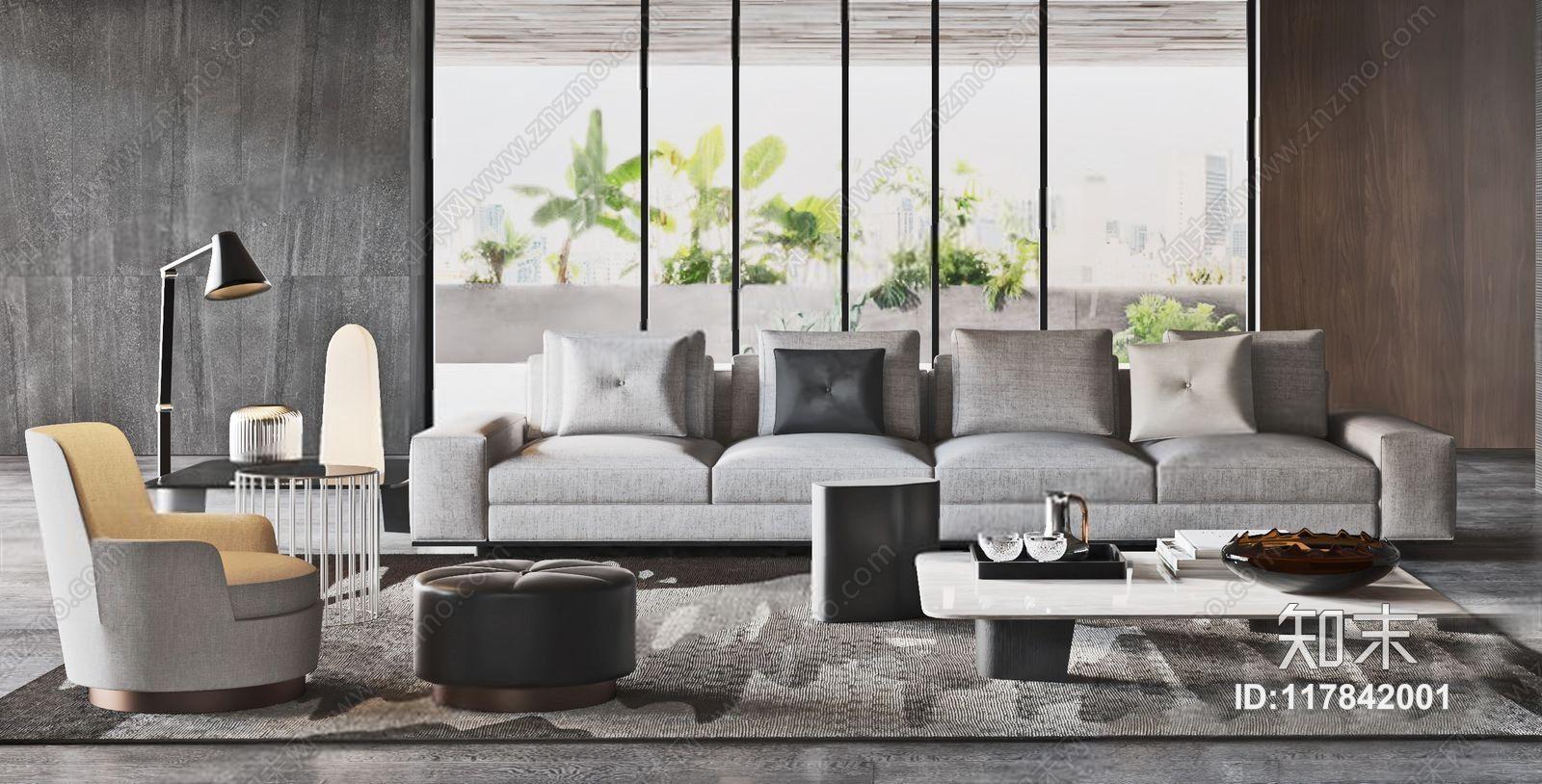 意大利 米洛提 Minotti 现代沙发组合 现代组合沙发 茶几 休闲椅 边几 落地灯 摆件 坐垫 意大利 Minotti 米洛提