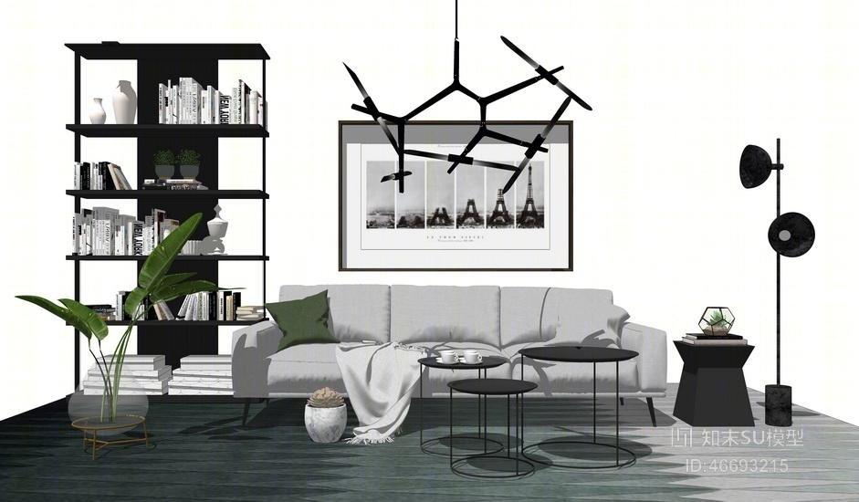 精品免费北欧风格客厅沙发茶几置物架吊灯组合SU模型