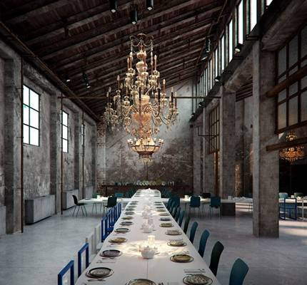 工业风酒店宴会厅 白色木艺十字形大型宴会餐桌 经典欧式吊灯