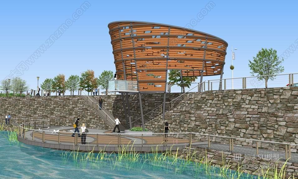 现代半圆亲水平台+构筑物SU模型