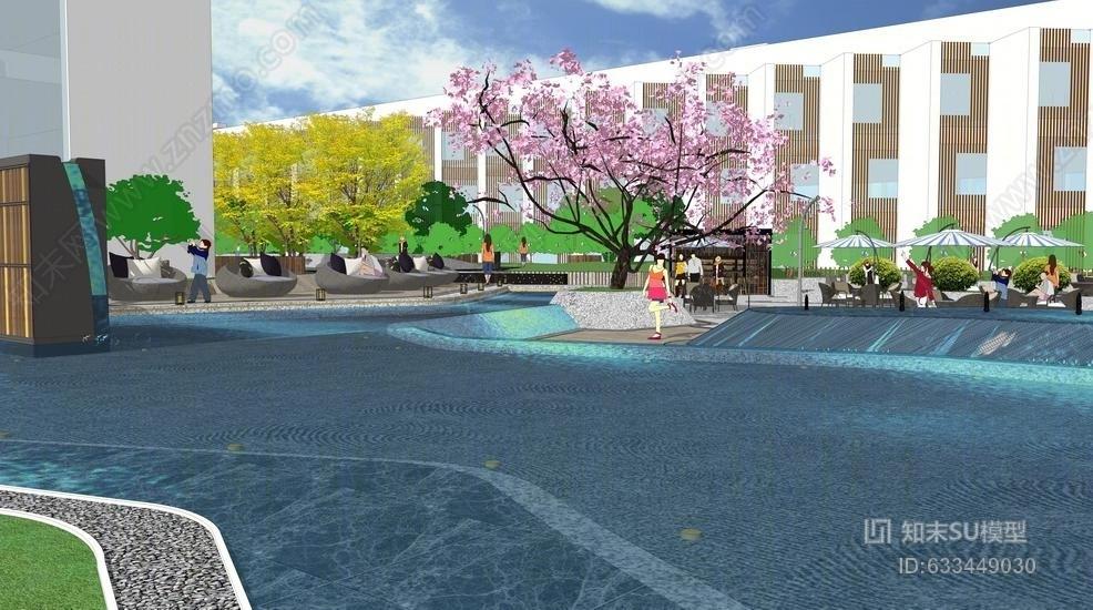 新中式屋顶花园SU模型