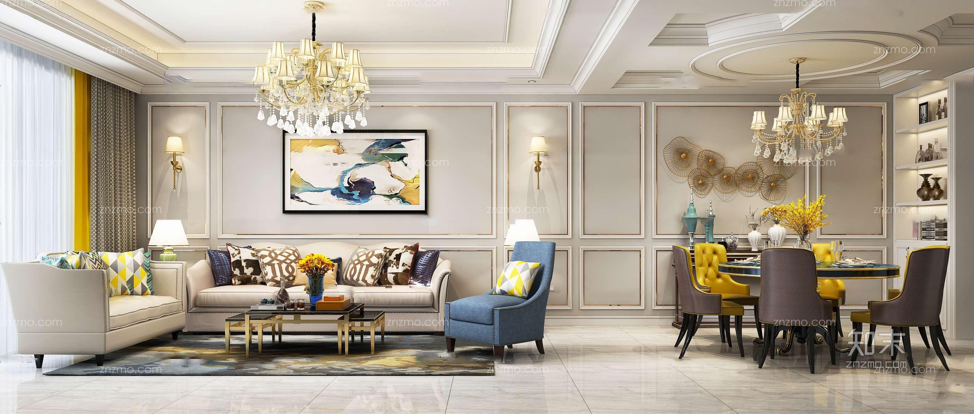 欧式客厅餐厅 沙发茶几 吊灯 休闲椅 挂画 壁灯 台灯 休闲椅 餐桌椅