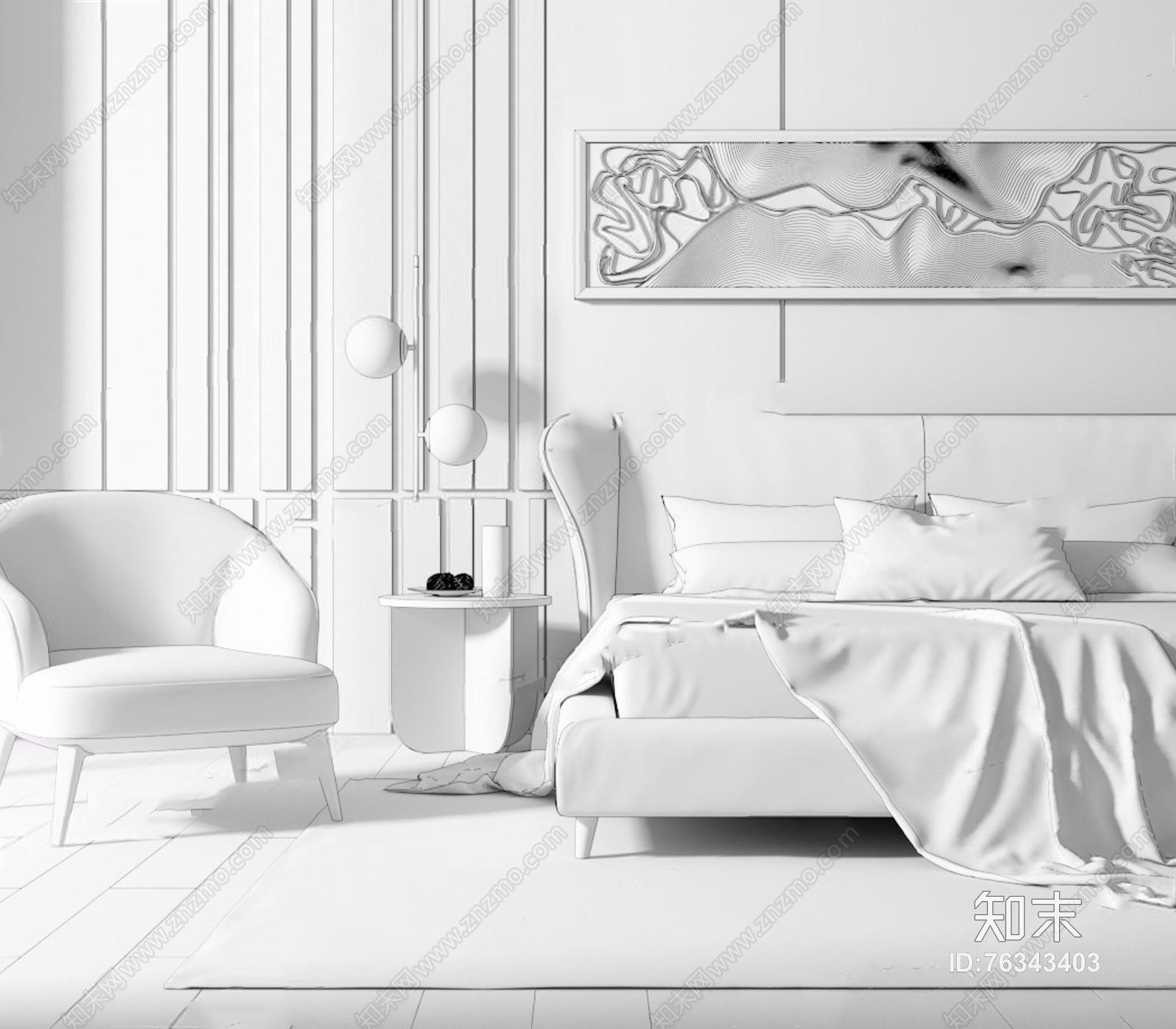 现代床具椅子组合 现代双人床 边几 休闲椅 床头灯 挂画 床品 地毯 床具 背景墙