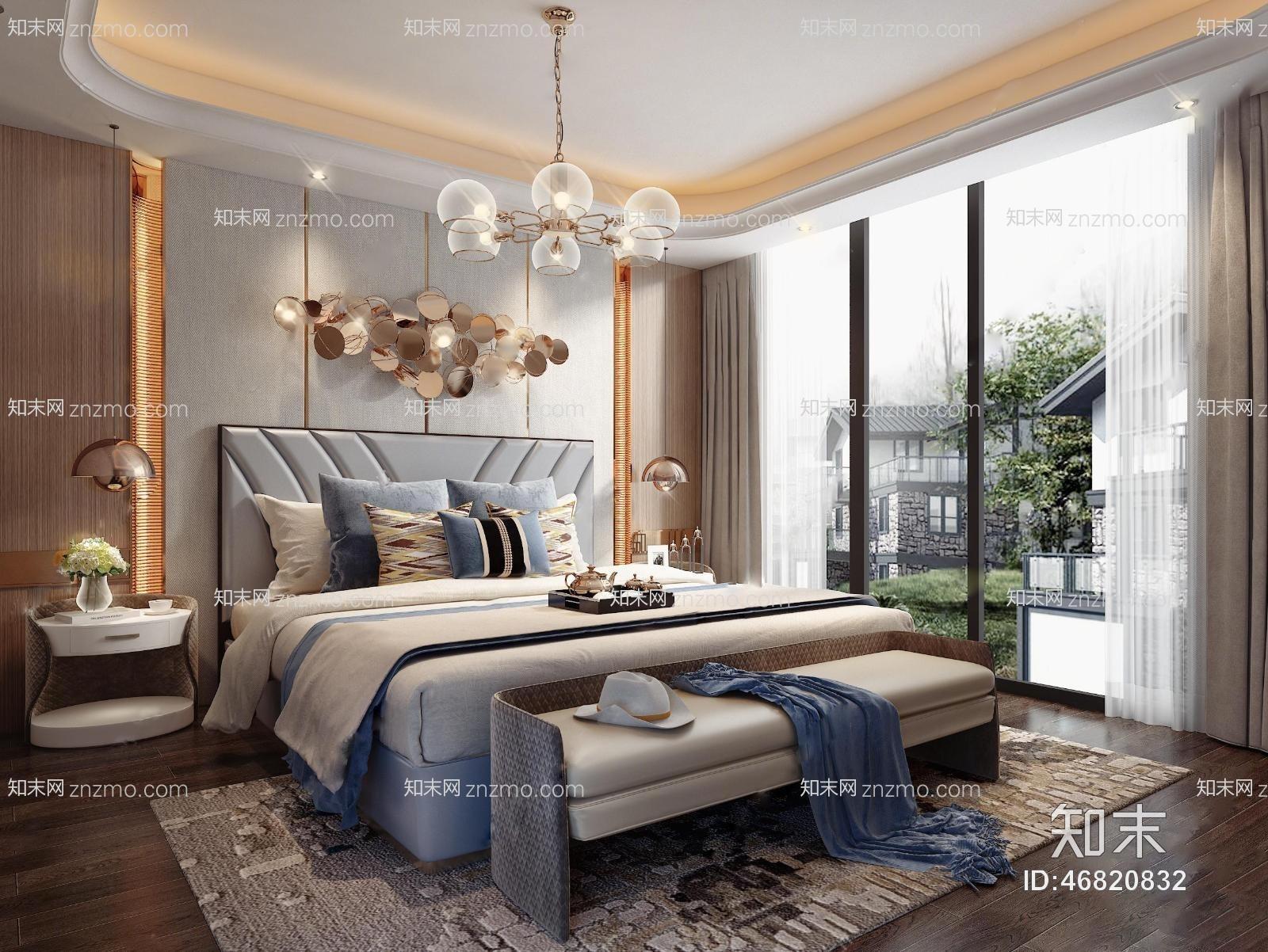 现代轻奢主人房卧室 吊灯 装饰墙 台灯 床尾凳 双人床