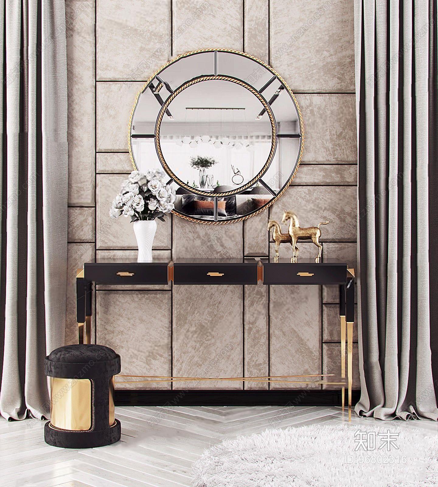 葡萄牙LUXXU现代奢华玄关柜凳子摆件镜子组合 现代边柜/玄关柜 餐边柜 电视柜 玄关柜 矮凳 凳子 摆件 饰品 镜子 花艺