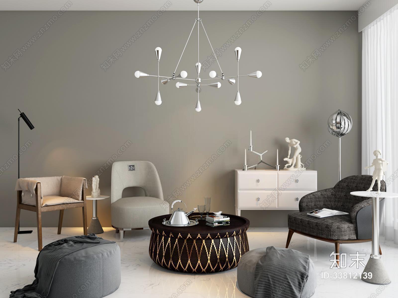 休闲单椅茶几边几组合 现代茶几 休闲椅 单椅 边几 沙发椅 吊灯 茶壶 沙发凳