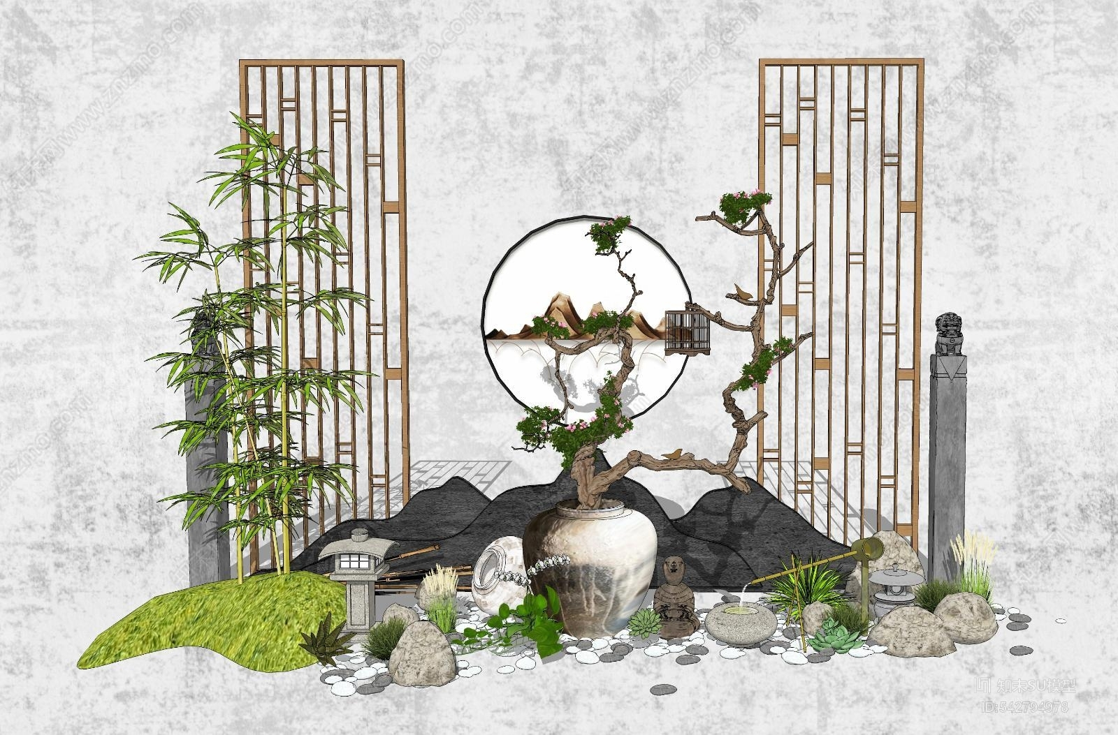 新中式景观小品 庭院小品 山水石头