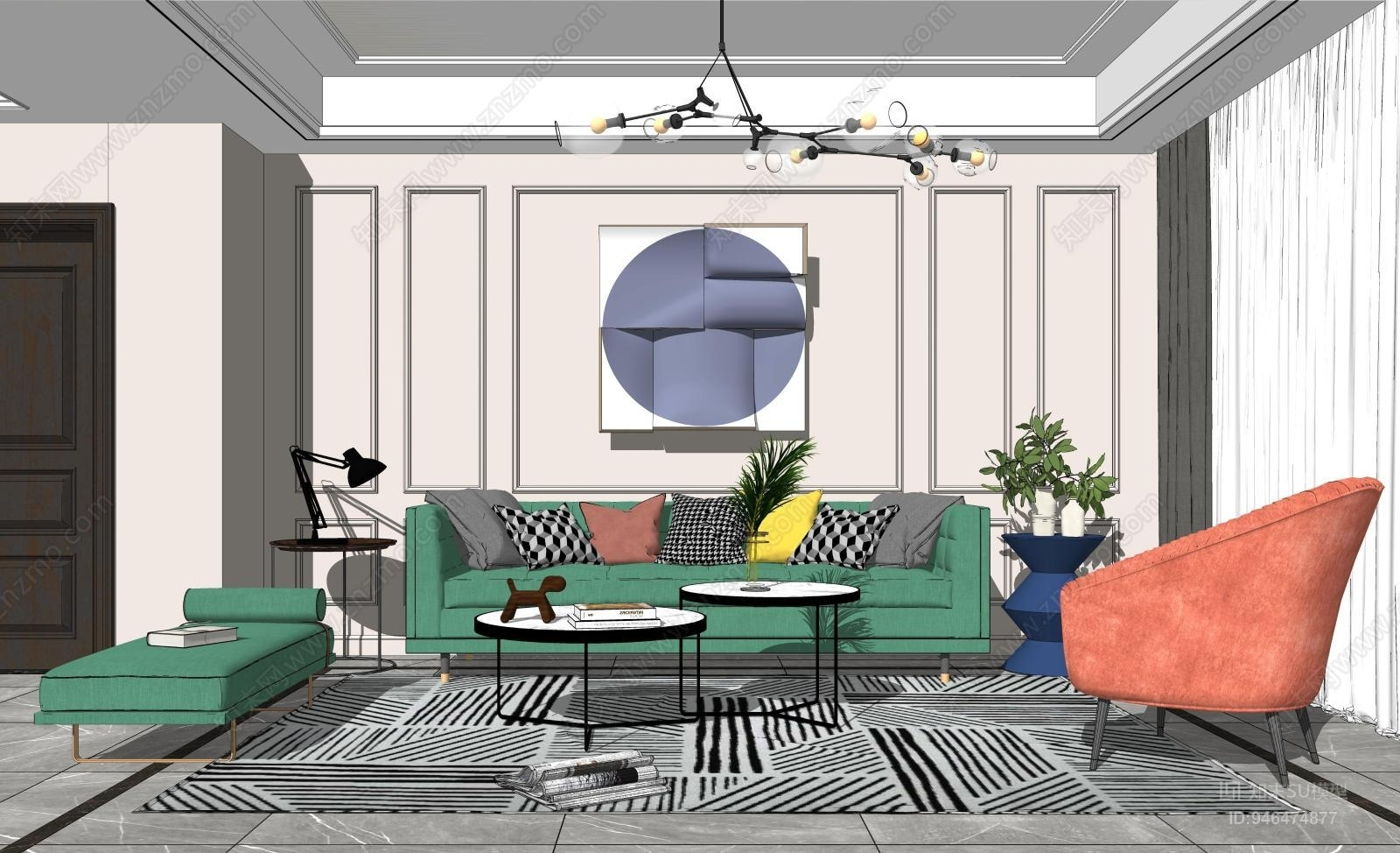 现代轻奢客厅沙发茶几组合