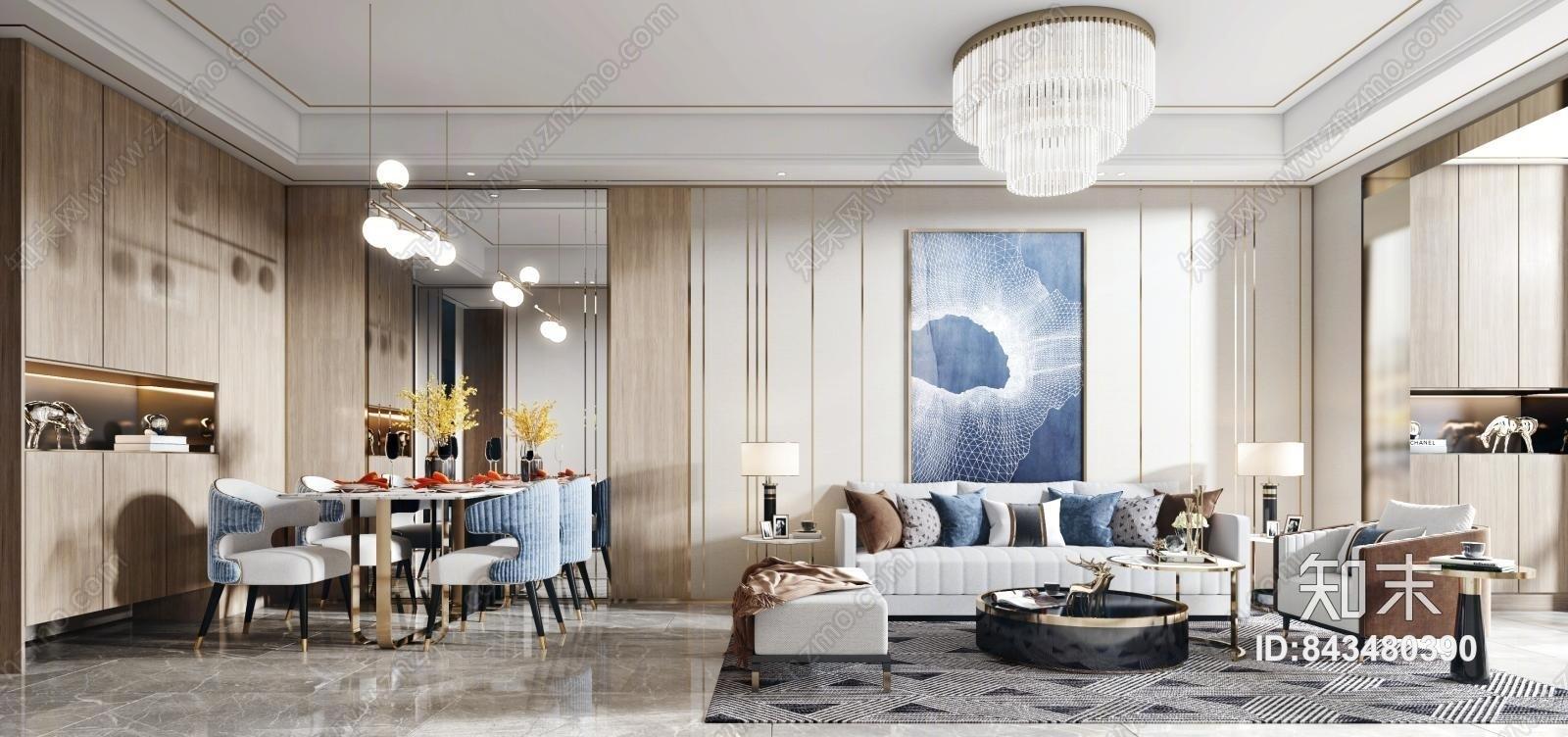 现代轻奢客餐厅 轻奢客厅沙发茶几组合 现代轻奢餐桌椅组合