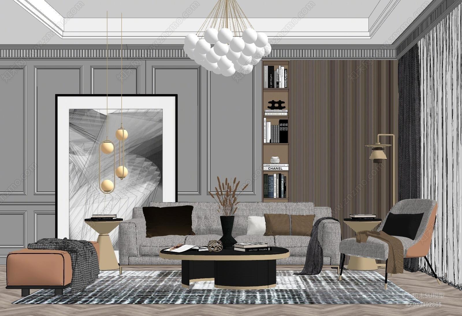 现代风格家居客厅SU模型下载【ID:949492865】