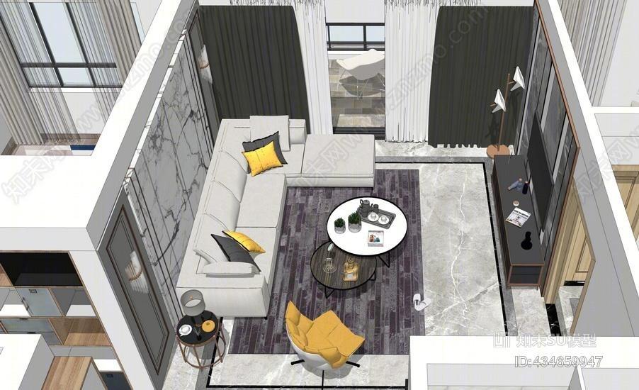 坪山天峦湖现代四房两厅室内设计SU模型
