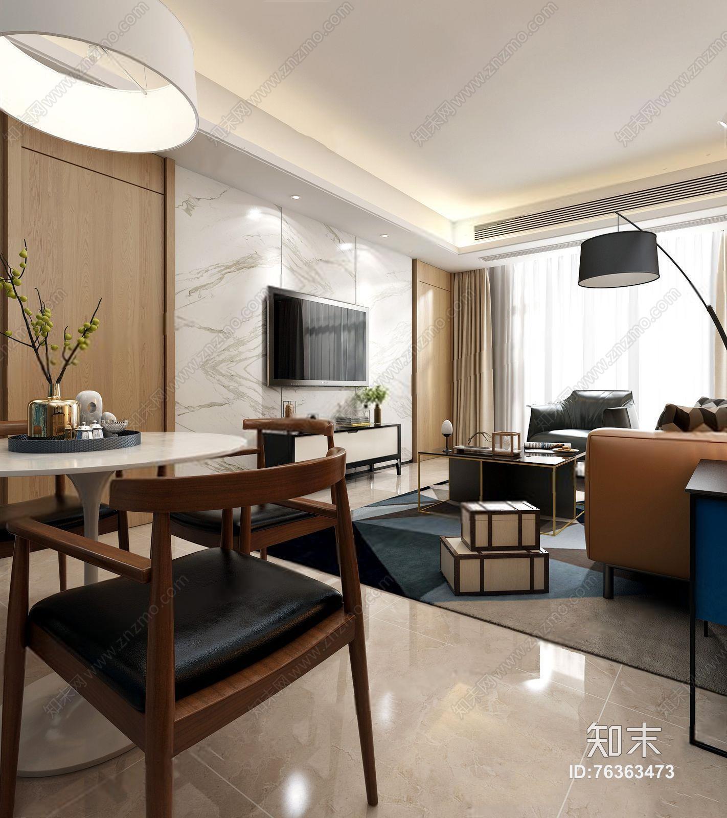 现代客餐厅 现代客厅 多人沙发 茶几 单人沙发 餐桌椅 餐边柜 落地灯 吊灯 台灯 挂画 地毯 摆件