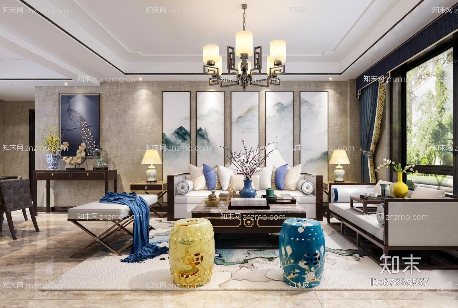 新中式客厅餐厅过道 多人沙发 茶几 沙发凳 装饰柜 摆件 鸟笼装饰 装饰物 餐桌椅 楼梯 挂画