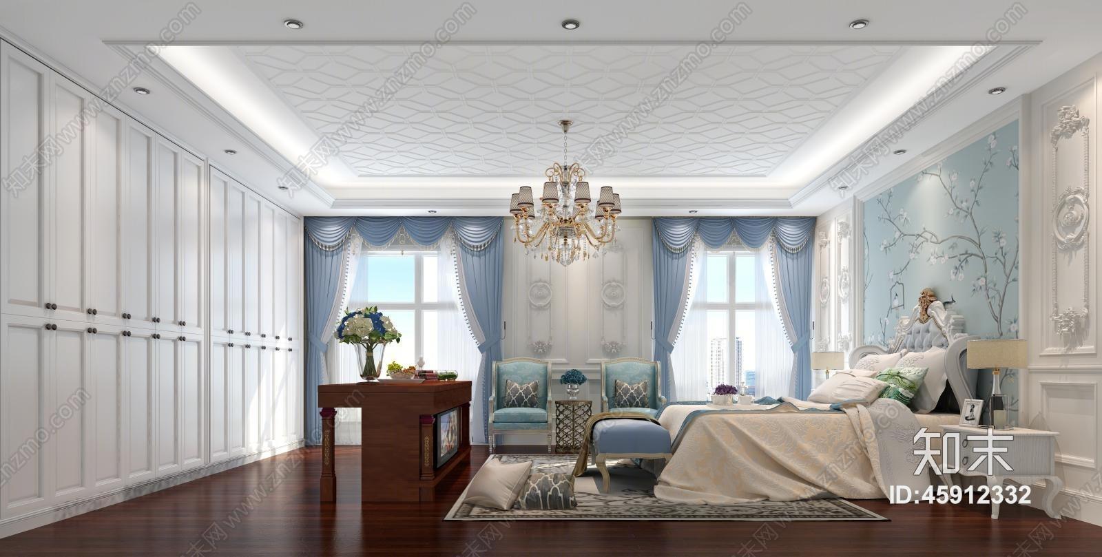 家装欧式卧室 双人床 床头柜 吊灯3d模型下载【id:45912332】