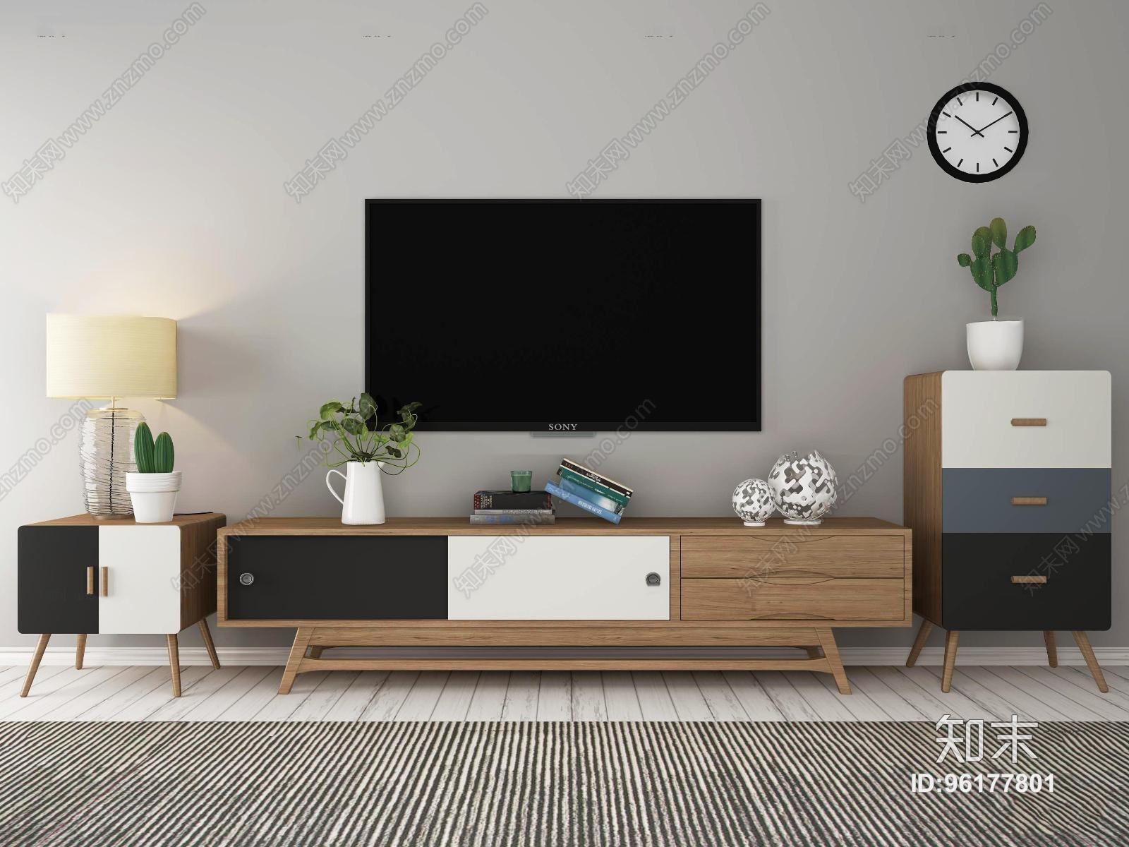北欧实木电视柜显示器边柜斗柜台灯摆件3D模型3D模型下载【ID:96177801】