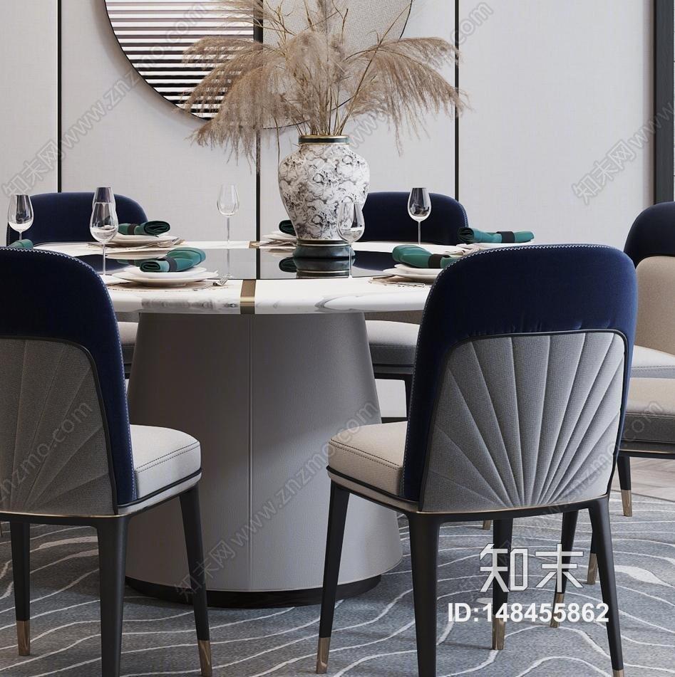 新中式餐桌椅3D模型下载【ID:148455862】