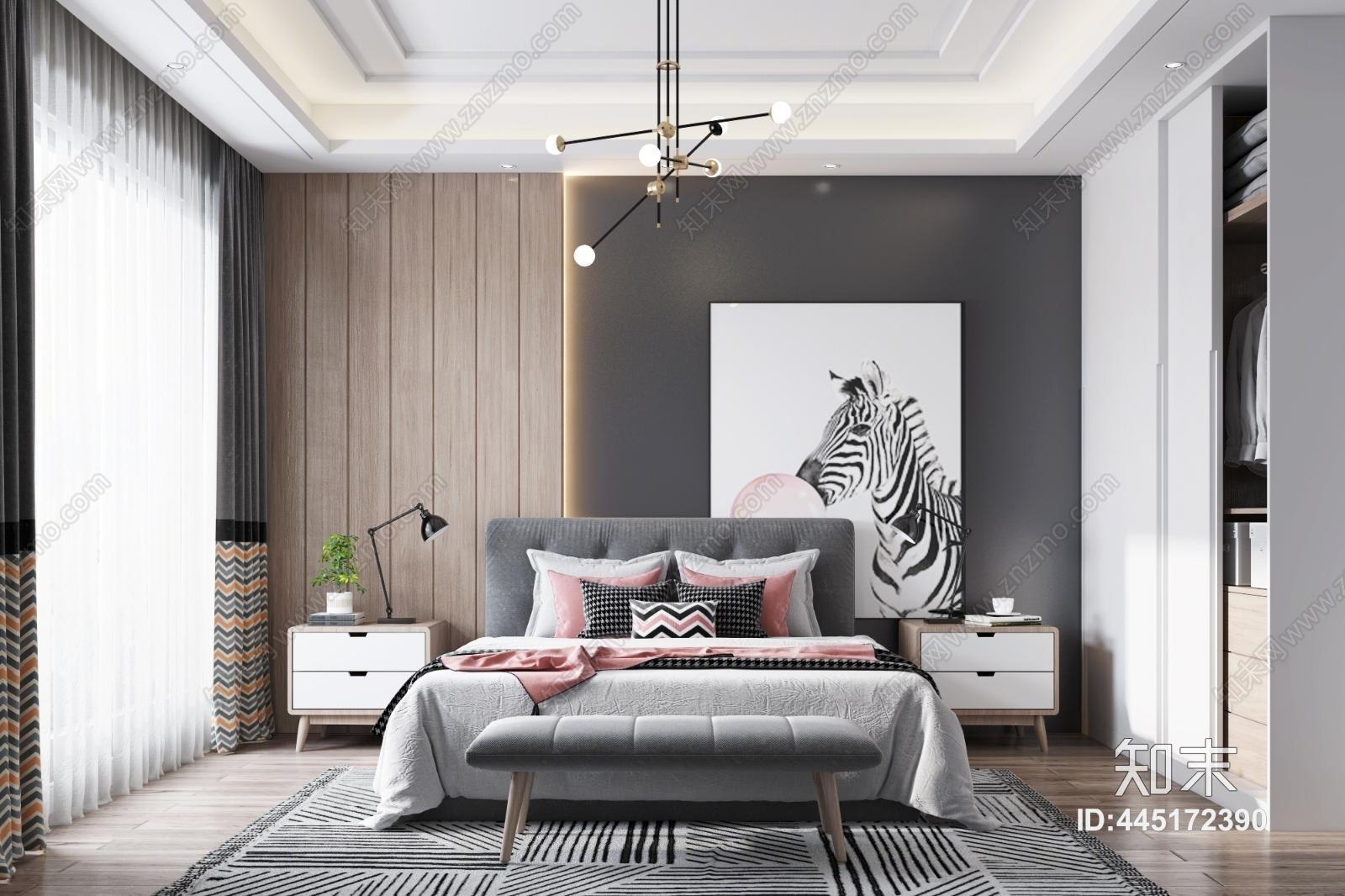 北欧卧室 双人床 床尾凳 衣柜 吊灯 窗帘 挂画