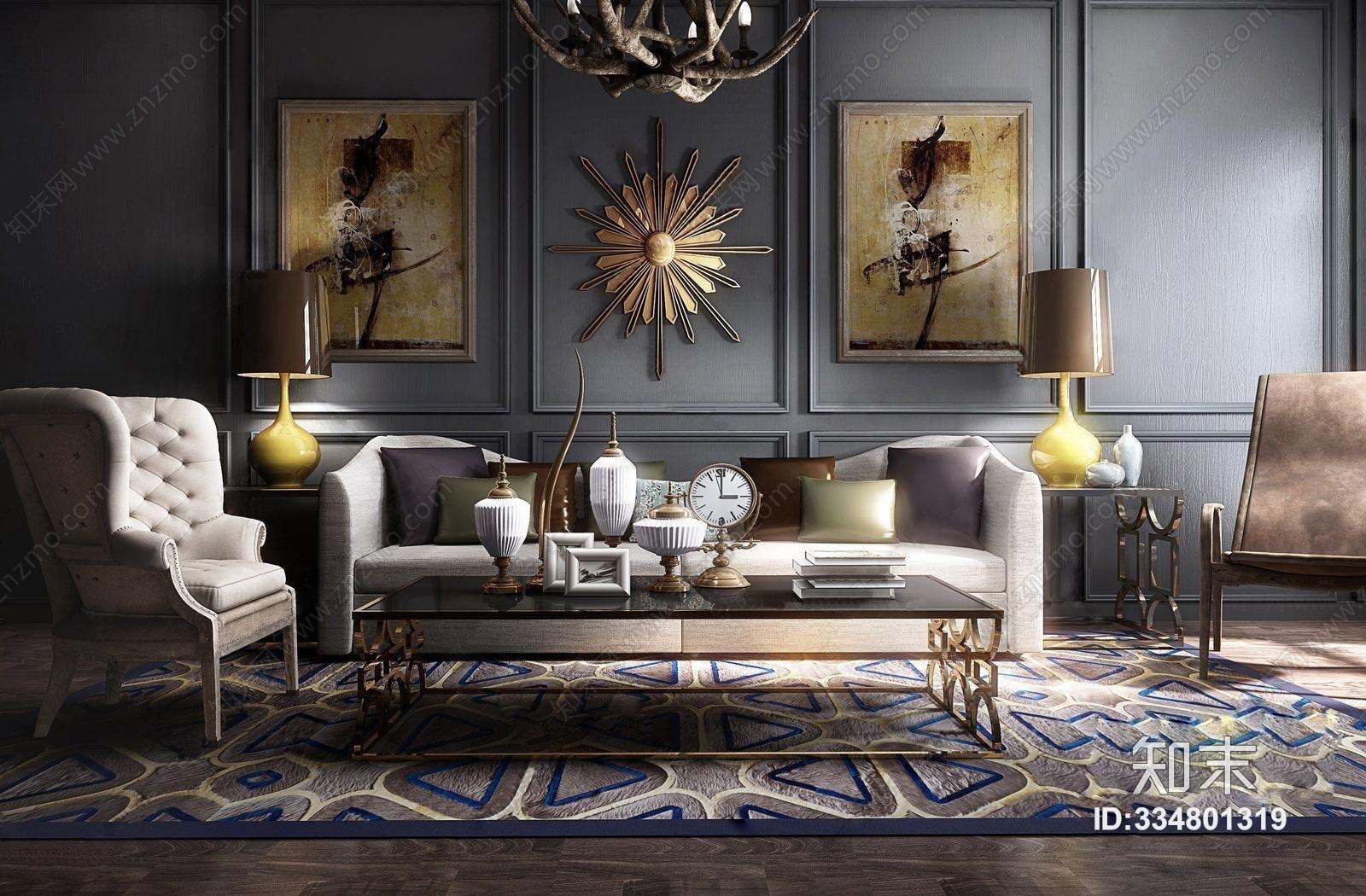 欧式古典沙发茶几组合