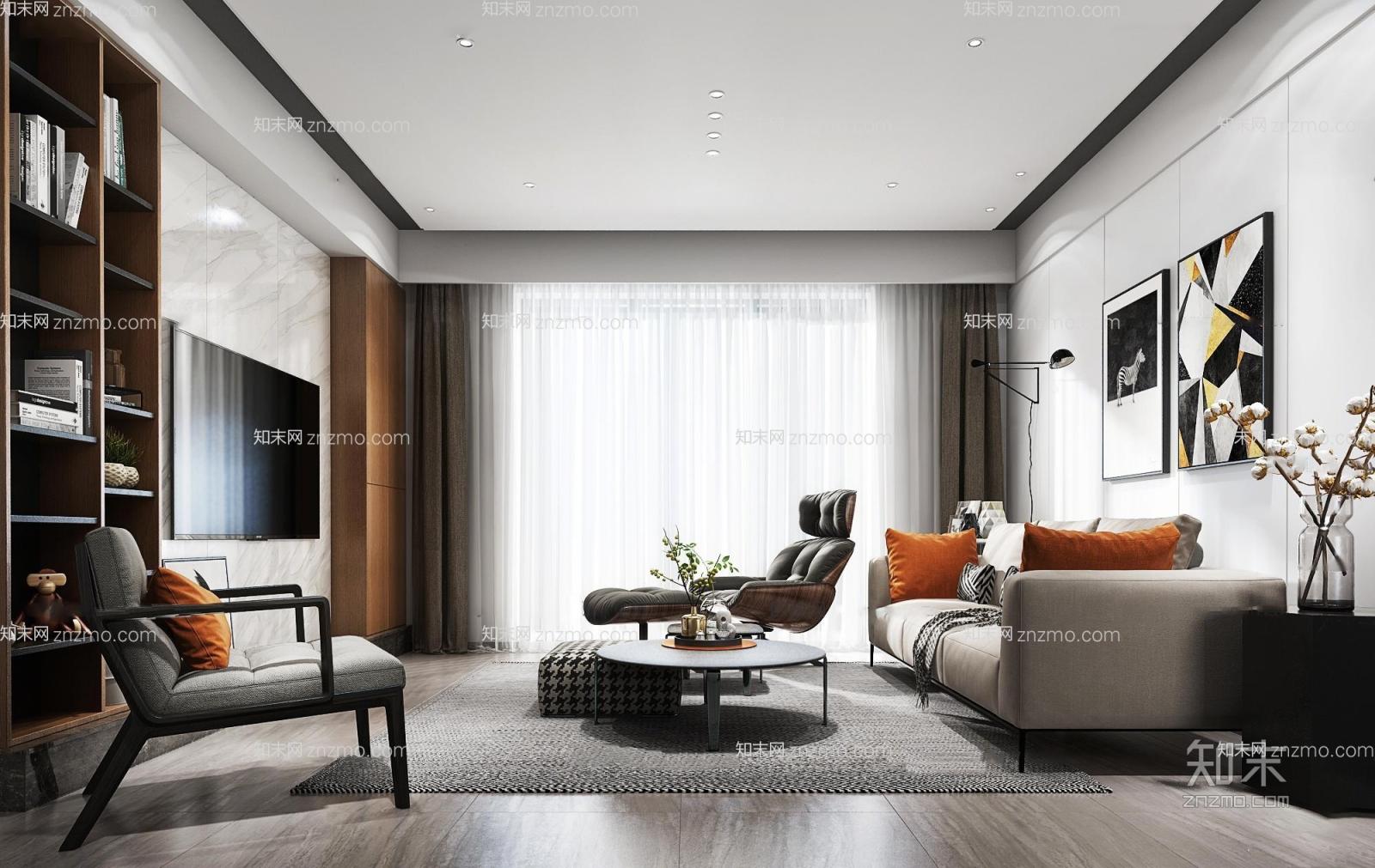 现代客厅餐厅3D模型 沙发茶几 落地灯 电视 插花
