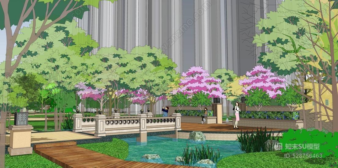 欧式小区景观SU模型
