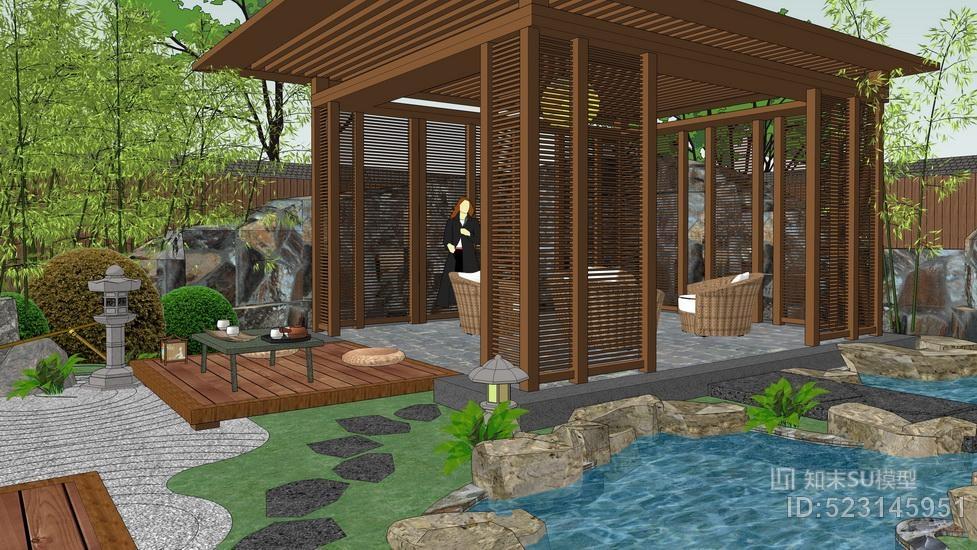 日式庭院景观SU模型