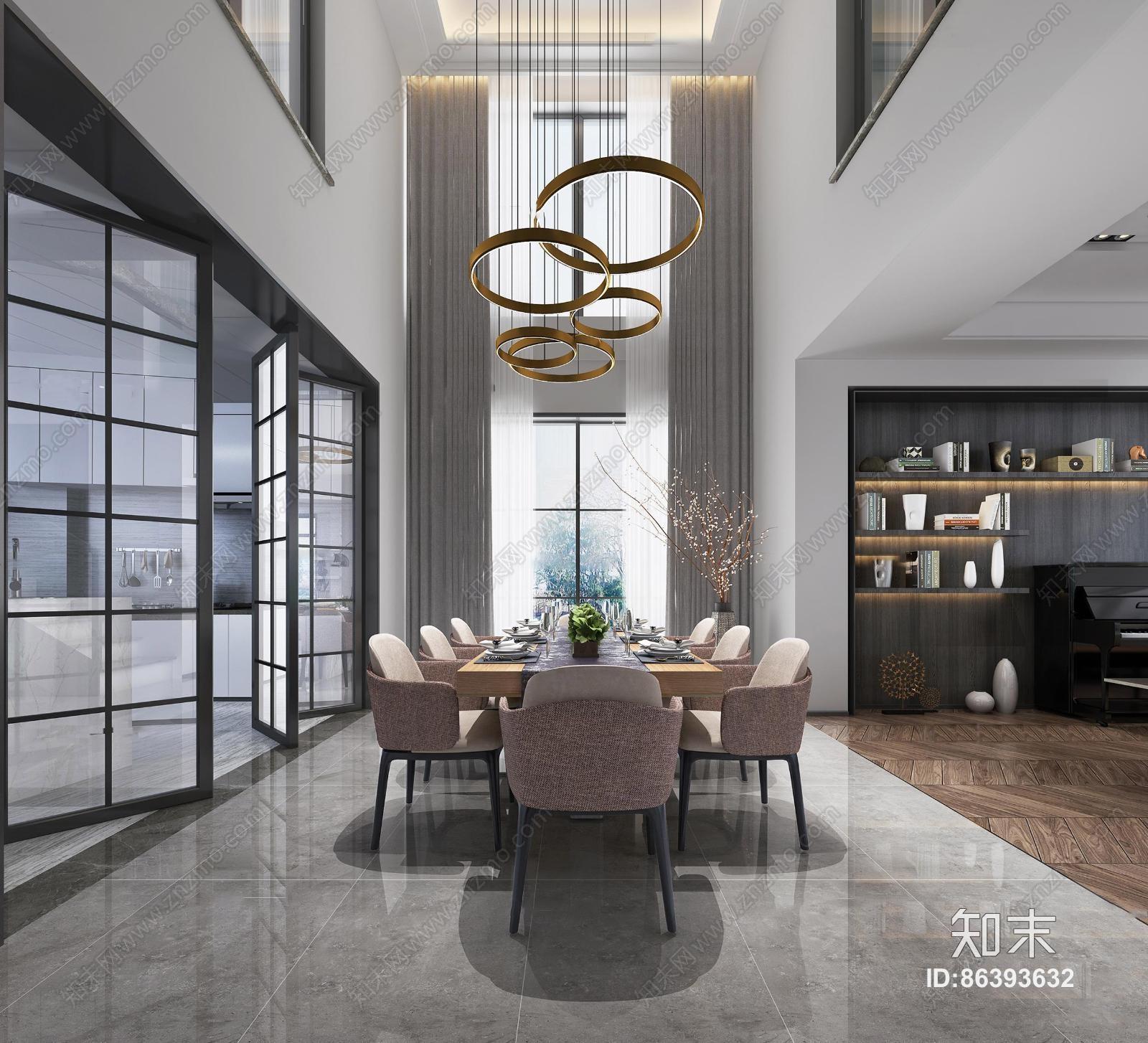 现代客厅餐厅 吊灯 台灯 钢琴 单双人沙发 茶几 装饰柜 陈设摆件 餐桌椅 挂画 置物架
