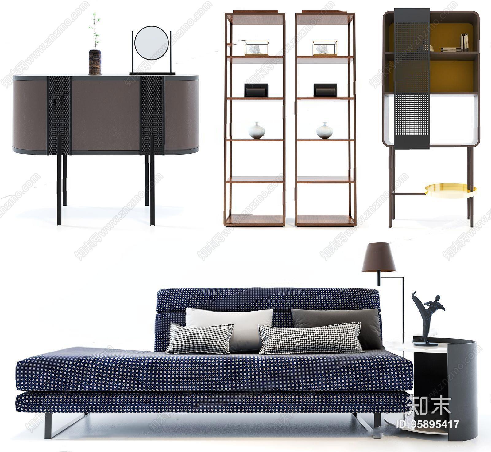北欧休闲沙发装饰柜组合 北欧休闲沙发 装饰柜 边柜 玄关柜 装饰架 落地灯 边几 摆件