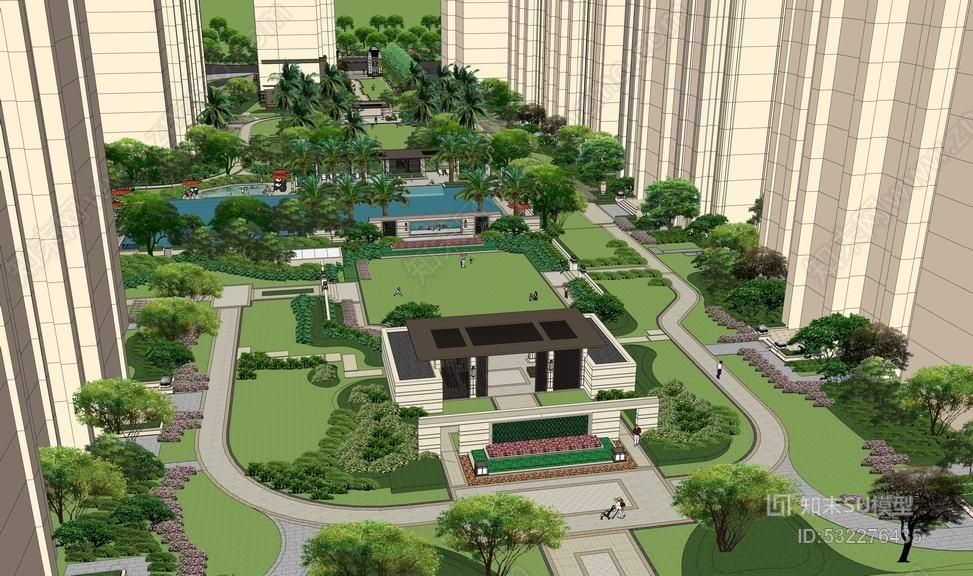 航海豪庭小区景观SU模型