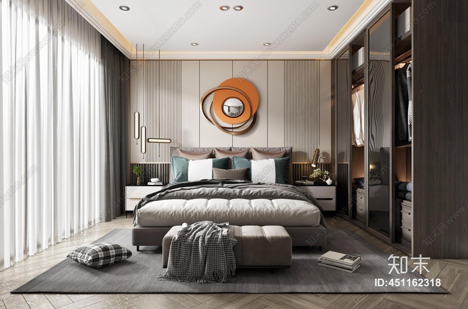 现代轻奢主卧室 挂件 双人床 装饰柜 木地板