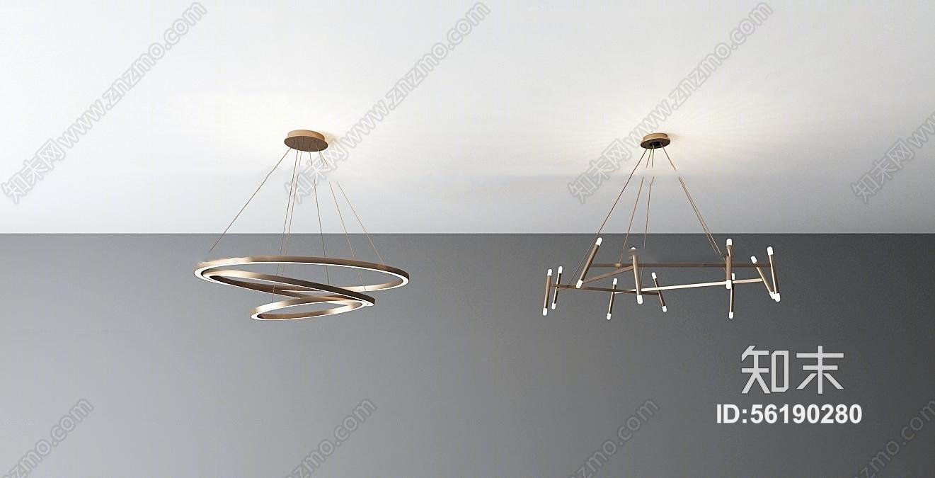 现代时尚吊灯组合3d模型3D模型下载【ID:56190280】