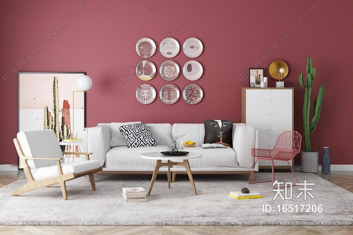 北欧双人沙发休闲椅茶几边柜装饰画摆件组合3D模型3D模型下载【ID:16517206】